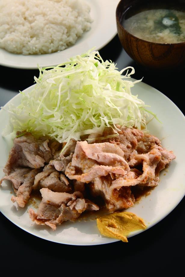 「禄明軒」の豚の生姜焼ライス600円。この価格ながら、味も量も大満足!