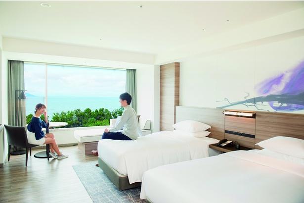 広々とした空間と美しい眺望を誇る「デラックスルーム」 / 琵琶湖マリオットホテル