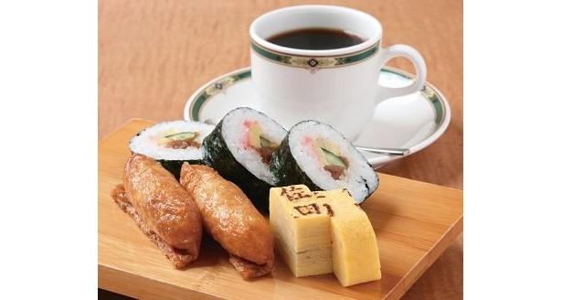 「珈琲&寿司 佐田」の寿司モーニング(400円〜)。寿司職人の主人が握る寿司と、奥様がいれるコーヒーが一緒に味わえる
