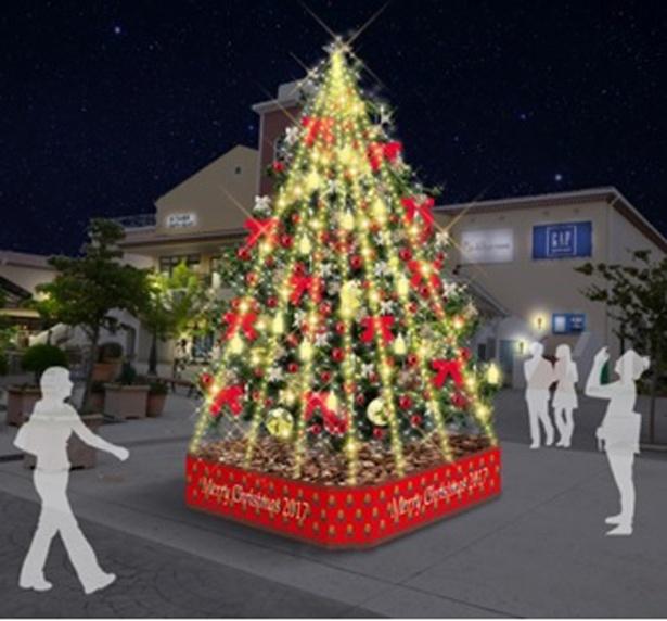 三井アウトレットパーク 多摩南大沢では、12月25日(月)までB街区「はーべすと」前にツリーが設置される