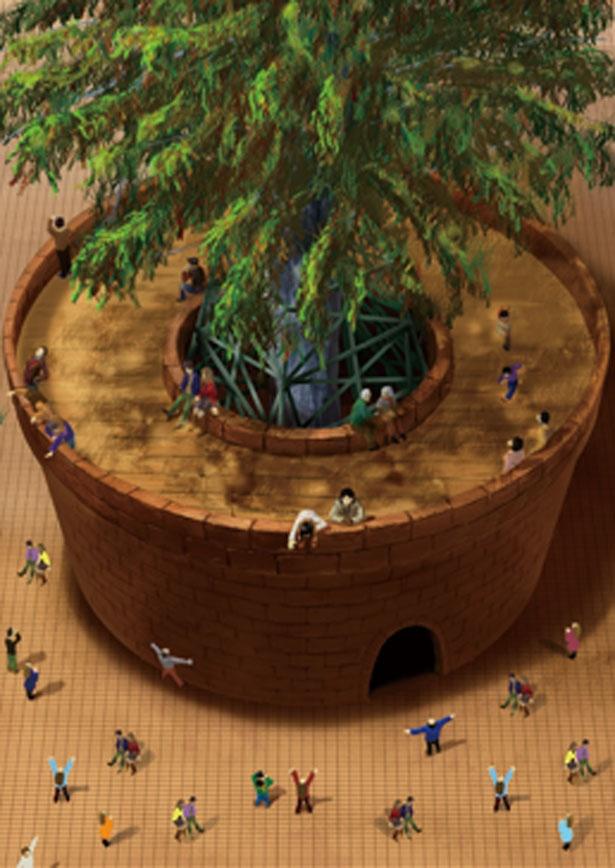 【写真を見る】クリスマスツリーを支える根鉢の中に入り、高さ約6mの鉢上に登ることができる/めざせ!世界一のクリスマスツリープロジェクト〜輝け、いのちの樹。〜