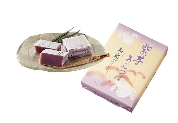ほっくりとした味わいの「紫芋きんつば」(1080円、6個入り)
