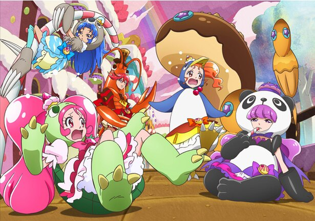 (左から)ホイップがカメ、ジェラートがライオン、ショコラがザリガニ、カスタードがペンギン、マカロンがパンダに!異色プリキュア誕生?