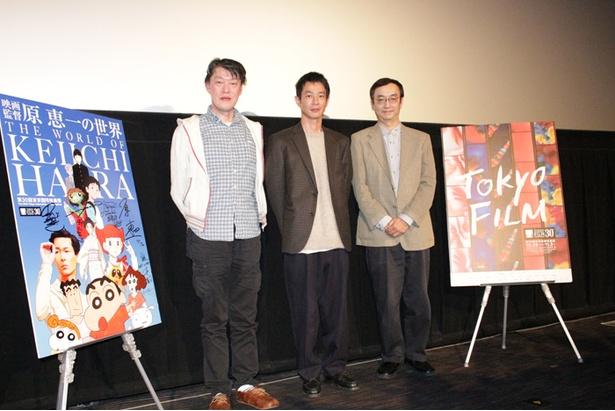 イベントもついに最終日。左から原恵一監督、俳優の加瀬亮、司会を務めた氷川竜介