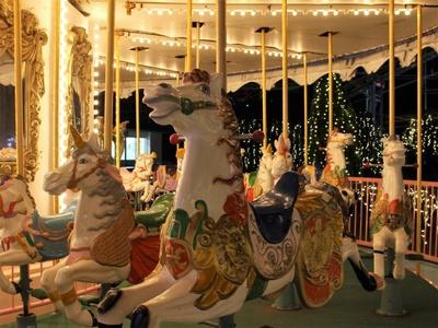 ファンタジーな世界が広がる夜のメリーゴーランド。乙女心を刺激すること間違いなし(400円)