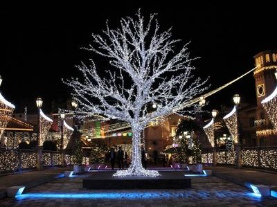フェスタ・ルーチェ会場と遊園地を結ぶ橋もイルミネーションとカラフルな光でライトアップ。5mを超える大きなツリーも見どころのひとつ