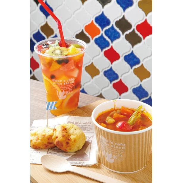 城下町エリアに今年オープンしたばかりのswan's cafe juice standに立ち寄ってみるのもオススメ