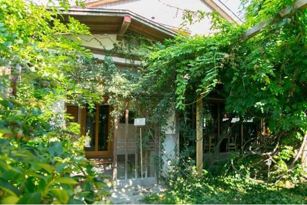 赤坂の路地裏、木々に覆われた民家とブロック塀に小さく貼られた「CAFE」の看板が目印