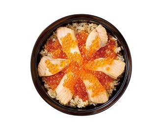 ごはんと麺の店見晴の「はらこめし定食」(1500円、あら汁・小鉢・漬物付き)