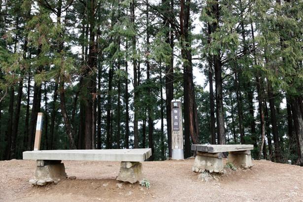 物見山の山頂。周辺に木が多く、日陰で涼しい山頂のベンチで休憩をしよう