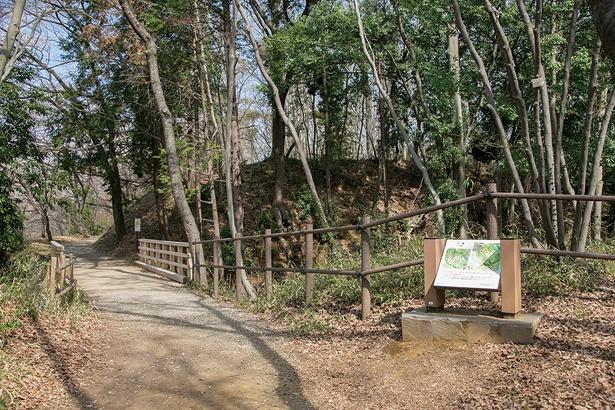 左手に誘い込まれた道にある木橋。右手の小高い場所は櫓跡で、昔は攻撃ポイントだった