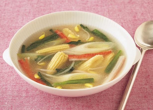 にらと豆もやしの白湯スープ