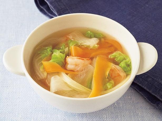白菜とリボン野菜の和風スープ