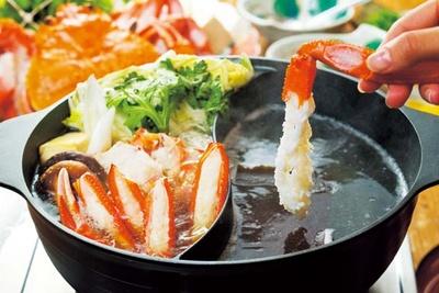 香住ガニの「ダブル鍋」(1人前5400円)/かに八代 れんが亭