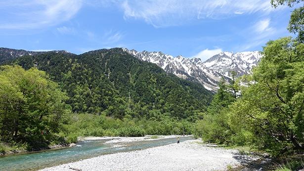 上流は山の緑と穂高連峰の残雪のコントラストが美しい