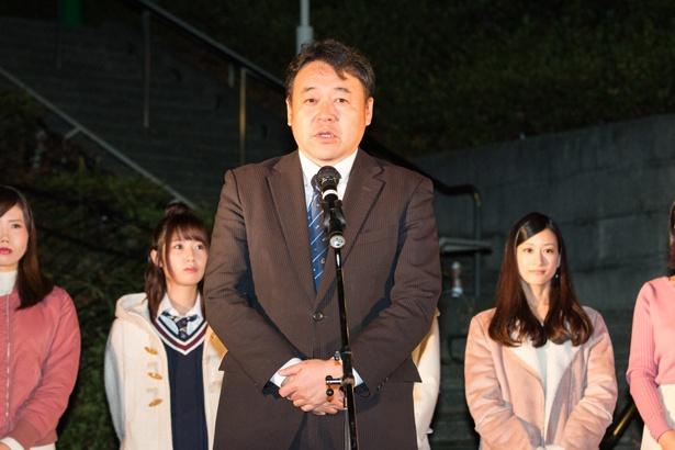 SKE48のファンに向けて、茶目っ気のあるお願いをして場を盛り上げた勝田事業長