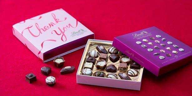 「バレンタイン ミニプラリネ Thank you ギフトパッケージ」(左)で感謝を伝えてみては?
