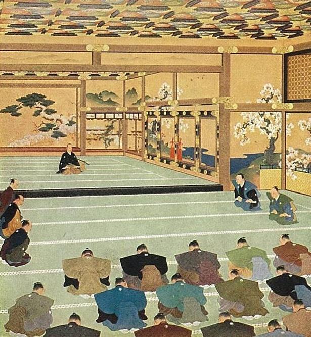 徳川慶喜が京都の二条城で大政奉還を諮問するの図