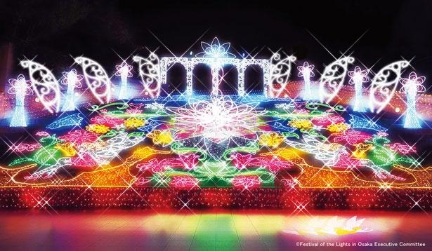 パークスガーデン全体がイルミネーションに包まれ、広大な光の杜(もり)に「大阪ミナミ光マッセ!スーパーフラワー」