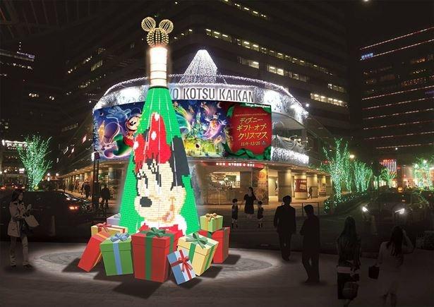 有楽町駅にディズニーのクリスマスツリーが登場!