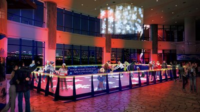 カップルで気軽にスケートを楽しもう!アクアシティお台場のアクアアリーナでは、光と音のロマンチックな演出にボルテージは最高潮