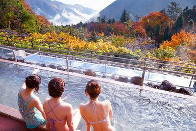 周囲の自然の爽やかな空気を堪能しながら入れる「展望露天風呂」