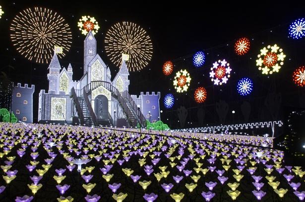 あしかがフラワーパーク「光の花の庭」に今年新たに登場した光の花畑に佇む城「フラワーキャッスル」