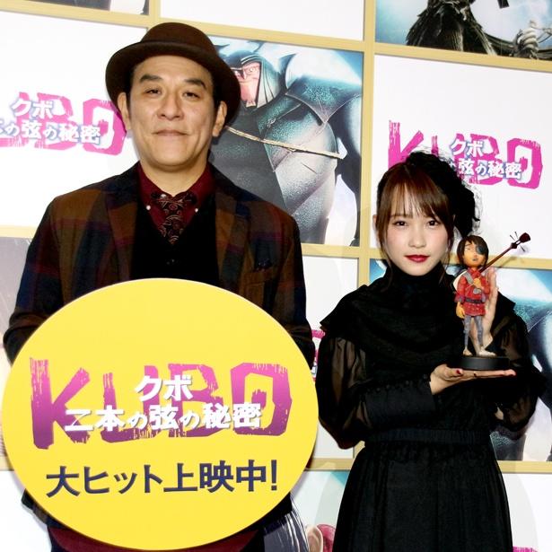 公開記念舞台あいさつに登壇したピエール瀧と川栄李奈(写真左から)