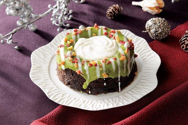 クリスマスリースを表現している緑のクリスマスリースのケーキ(320円)