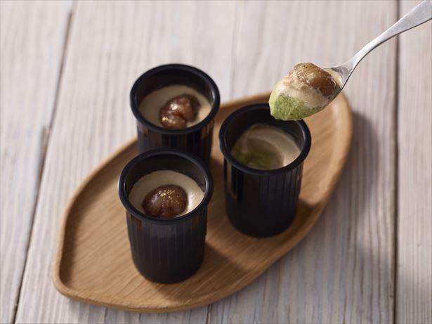 【写真を見る】宇治抹茶と栗の濃厚な風味が楽しめる「クレームランヴェルセ 栗と抹茶」(1782円)も販売