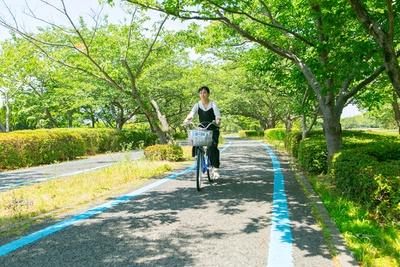 「海の中道海浜公園」。自然あふれる公園の中ではサイクリングを楽しみながらの移動がおすすめ