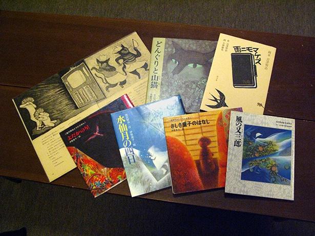 【写真を見る】原画を所蔵する宮沢賢治作品の絵本の数々。企画展の際には、絵本に使用された貴重な原画と見比べることもできる