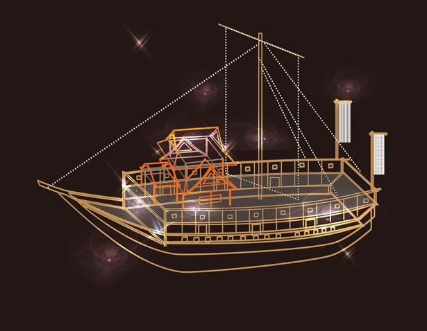 【写真を見る】江戸時代の大名が乗る御座船/大阪城イルミナージュ