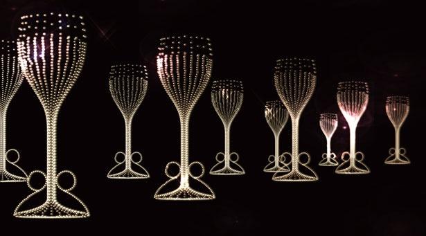 シャンパンの泡がグラスから湧き上がるよう/大阪城イルミナージュ