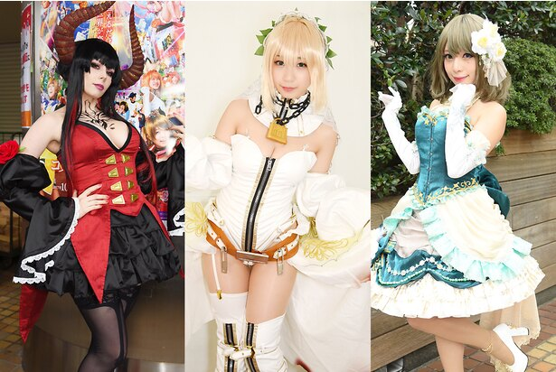 左より、人気コスプレイヤーのユリコタイガーさん、伊織萌さん、宮本彩希さん