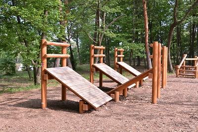 こどもの森の遊具は『泉小太郎』等、安曇野の民話がモチーフになっている