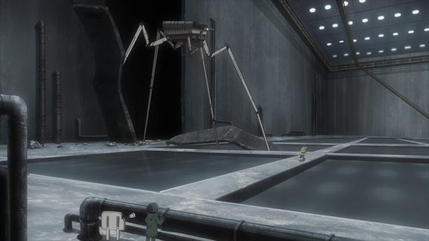「少女終末旅行」第9話の先行カットが到着。暗闇の中で巨大ロボット現る!