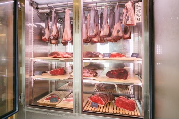 【写真を見る】牛タンのブロックなど、肉が豪快にディスプレイされた熟成庫