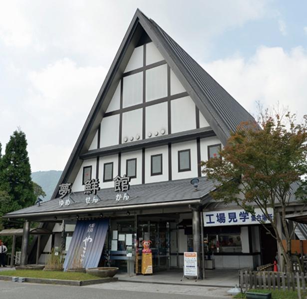 三角屋根が目印。受付はここでしよう/ヤマサ蒲鉾株式会社