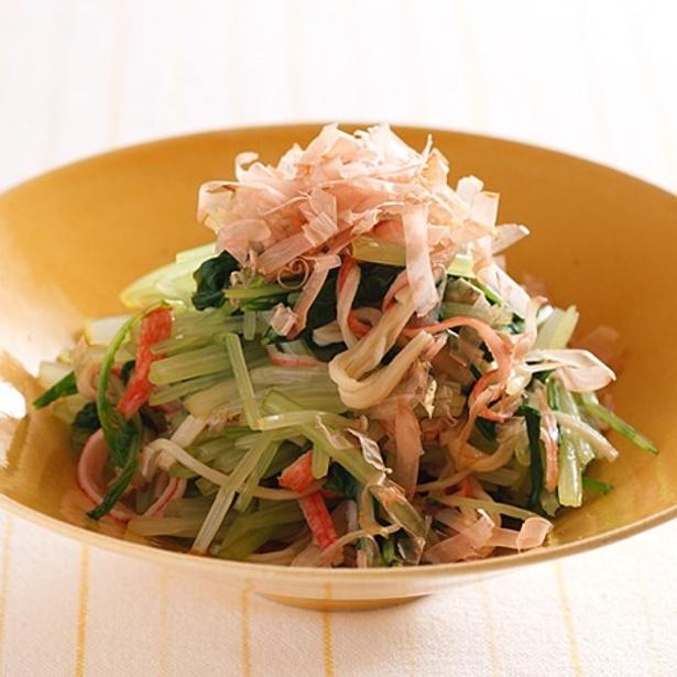 【関連レシピ】水菜とかにかまのポン酢サラダ
