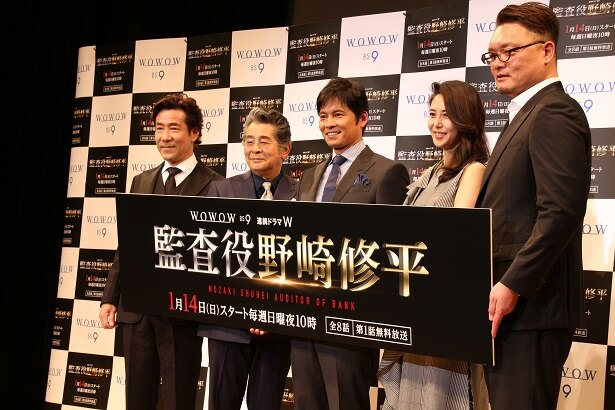 登壇した岸谷五朗、古谷一行、織田裕二、松嶋菜々子、権野元監督(写真左から)