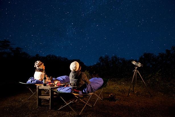 ツアー開始時間は18時または18時30分から1時間30分ほど。静かな森の中で星空を見上げるロマンチックなひと時が堪能できる