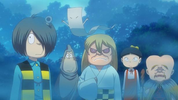 主人公たちが鬼太郎の助けを求めてゲゲゲの森へ。初対面はいかに…!?