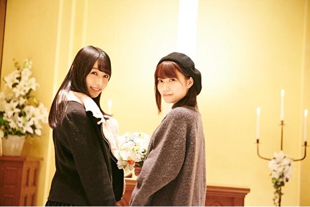 プライベートで一緒に遊ぶことも多いけど、2人きりは初と話す栗原紗英(左)&駒田京伽(右)