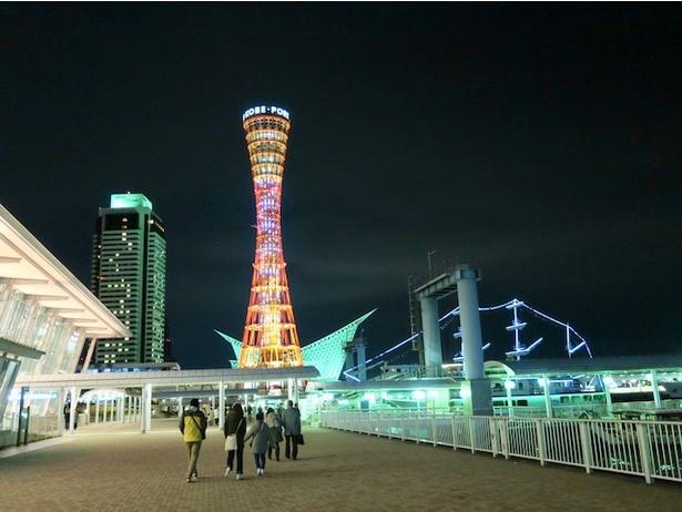 海沿いをポートタワー目指して歩く。海風が冷たいので防寒具必須!