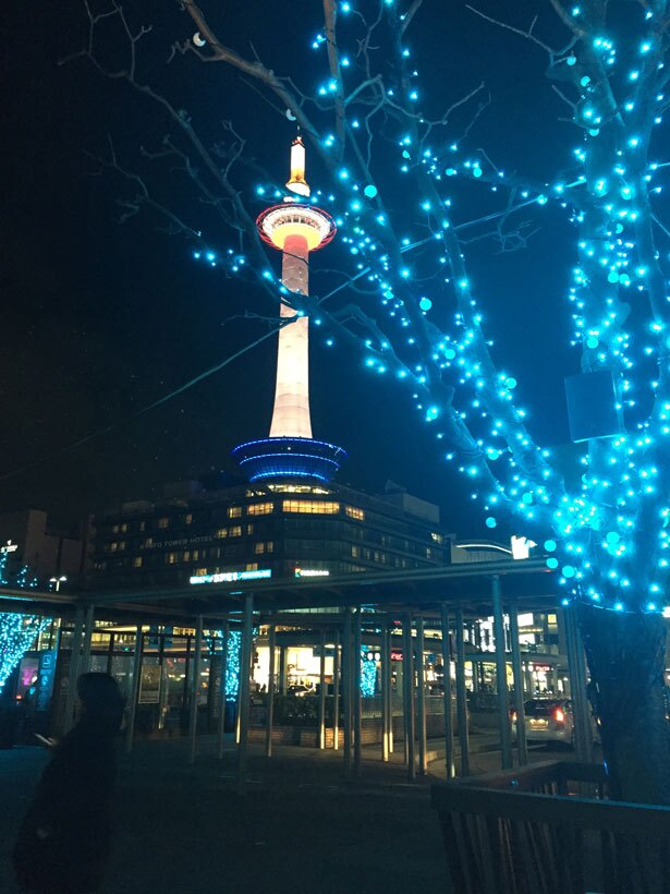 樹木が華やかに彩られた駅前広場「イルミネーション スクエア」。17:00~21:00の毎時15分、45分から「鼓動」をテーマにした音と光の演出がある