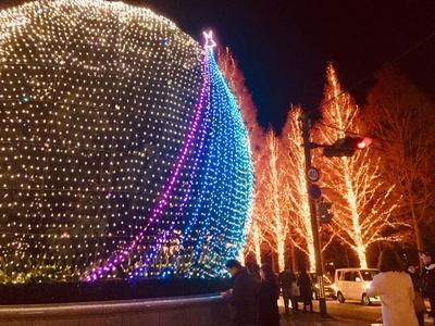 シンボルツリー「ヤマモモの木」。白色LEDを基調とした洗練された光で彩られている