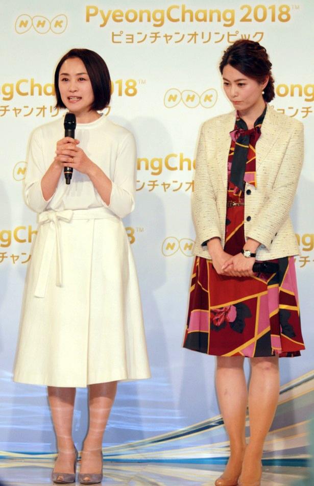 【写真を見る】雪を想起させる真っ白な衣装で登壇した上村愛子