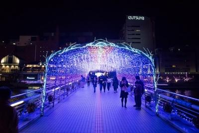 紫川にかかる鴎外橋のイルミネーショントンネルは必見!