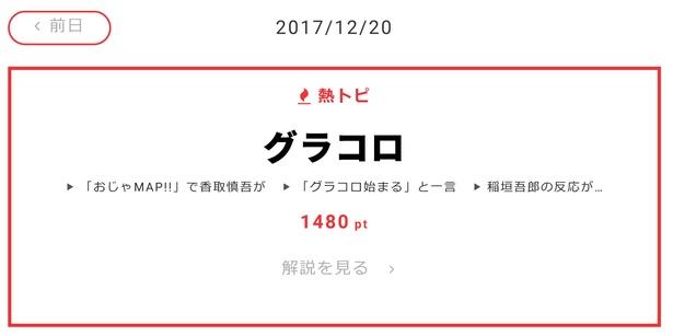 """12月20日の""""視聴熱""""デイリーランキング・熱トピでは「グラコロ」をピックアップ"""
